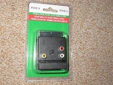 SCART MASCHIO A SCART 3 X RCA Donna connettore con interruttore TV Video Collegamento Nuovo in Scatola