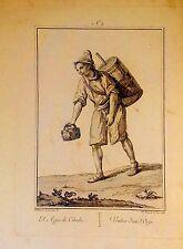 AGUADOR. EL  AGUA DE CEBADA. Grabado original.Manuel de la Cruz . Madrid 1777.