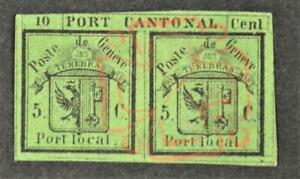 SWITZERLAND GENEVA STAMPS 1843 PAIR 5C GREEN  USED SOLD ON ITS OWN MERITS (L211)