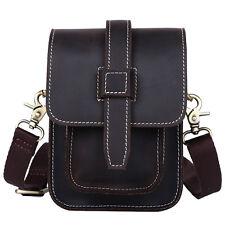 Mens Leather Small Shoulder Sling Bag Waist Belt Bag Fanny Pack for wallet phone