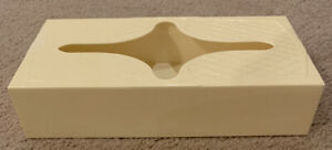 Vintage Mid Century Cream Yellow Plastic Kleenex Tissue Box Holder Diamond