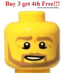 ☀️NEW Lego Minifigure Head Beard Dark Tan Angular Bottom Eye Lid Line Teeth