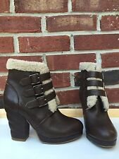 See By Chloe Nappa Brown Leather Shearling Buckle Boots Chunky Heel 35 5 * RARE!
