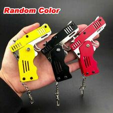 Keychain Gun Ring Rubber Band Mini Folding Key Children's Gift Toy All Metal US