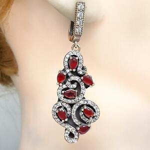 Deco 5.00ctw Ruby & Diamond Cut White Sapphite 14K Yellow Gold 925 Earrings 13g