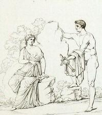 Ethra et Egée Antiquité Mythologie Gravure originale XIXème siècle