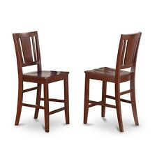 Counter Height Dining room Chair with Wood Seat in Mahogany Finish, Set of 2 NEW