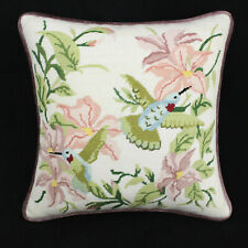 New Needlepoint Pillows Birds Plum Backing