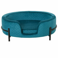 PawHut Pet Sofa Cat or Small Dog Bed Stand Removable Seat Cushion, Teal Blue