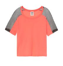 Victoria's Secret PINK Perfect Crop Mesh Crew Tee S T-Shirt Cactus Flower New