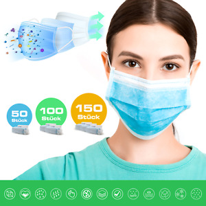 Mundschutz 3-lagig Hygienemaske Schutz Einwegmaske Mundbedeckung Mund-Nasemaske