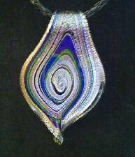 Purple & silver foil spoon glass swirl on black necklace