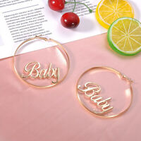 Letters Baby Retro Women Statement Gold Circle Drop Dangle Earrings Jewelry hot