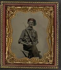 Photo Civil War Union Soldier In Uniform Fez Hat Model 1855 Rifle and Revolver