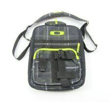 Oakley Messenger Bag Black Plaid Fabric Laptop Computer Vertical Shoulder Bag