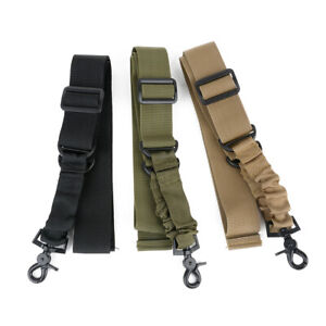 Tactical Gun Adjustable Rifle Sling 1 One Single Point Belt Strap & Metal Hook