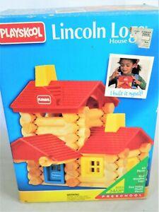 PLAYSKOOL LINCOLN LOG HOUSE SET, 64 PIECES IN ORIGINAL BOX, 1992-93,WOOD/PLASTIC