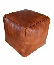 MOROCCAN LEATHER POUF Cube Pouf Ottoman Square Moroccan Pouf Natural Dark Brown