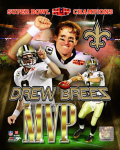 DREW BREES Super Bowl XLIV (44)  MVP Composite 8x10 Photo NEW ORLEANS SAINTS