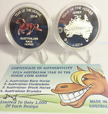 "2014 Year Of The Horse ""Aust Race Horse"" 1 Oz Coin C.O.A. LTD 1,000. (No Tin)"
