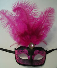 "Hot Pink Black Venetian Mask Feather Masquerade Mardi Gras 12"""