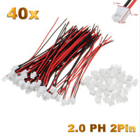 40 Set (80 Stück)  2Pin 2.0 PH 2.0mm Mini Micro JST Stecker 12cm Kabel + Buchse