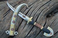 African Tuareg Knife Dagger Berber Tribal Blade Fixed Sheath Hunting Khanjar
