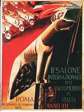 POST CARD OF A VINTAGE POSTER INTERNATIONAL AUTO SHOW ROME JAN 30-FEB 10 1929