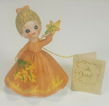1974 George Good Josef November Birthday Girl Figurine With Autumn Leaves