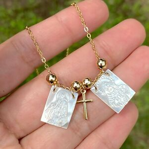 Mother of pearl scapular necklace miraculous medal catholic gift escapulario