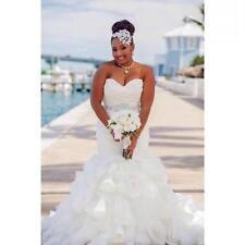 Stunning Mermaid Organza Plus Size Wedding Dresses Ruffles Beach Bridal Gown Hot