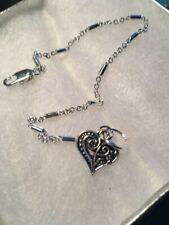 brass. Lovely Heart Charm Ankle Bracelet: 7 1/2 silver-finished