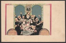 7562 Lithographie - Das Ratsstübel - Männer Politiker betrunken