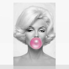 Marilyn Monroe Pink Bubble Gum Bubblegum Framed Canvas Print Picture A3 B&W