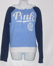 Victoria's Secret Love Pink Colorblock Pullover Hoodie Blue Small (S) NWT