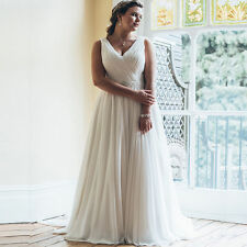 New Ivory/white Plus Size A-line Wedding Dress Beach Chiffon Bridal Gown 4-26+