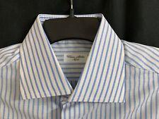Men's Cesare Attolini Dress Shirt 42 R Blue And White Stripe Thin Fabric NWT
