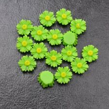 20Pcs Green Resin Sunflower flower flat back  DIY Charms Bead /have hole 12MM
