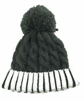 29 Palms Unisex Black and Silver Beanie with Pom Pom Casual Winter Hat One Size