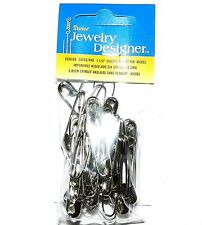 "SP118 Silver 1-1/2"" Coiless French Safety Pin For Beads, Crafts & Jewelry 35pc"