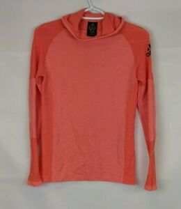 Adidas Climaheat Running Hoodie, Coral, Women's Small