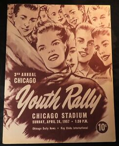 1957 3rd Annual Chicago Stadium Youth Rally Concert Program Gene Vincent RARE