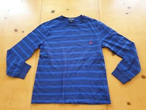 Ralph Lauren Designer Boy's Blue Striped T-Shirt Size 12 -13 - 14 Years
