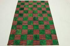 Patchwork Vintage Rarité Orient Tapis vert rouge Design 240x160 handmade 2198