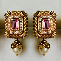 Vahe Naltchayan 18K Yellow Gold Pink Tourmaline Diamond Pearl Scroll Earrings