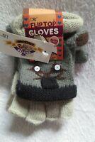 D & Y  Winter Critter Gloves Flip Top Grey New