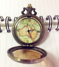 Classic Pocket Watch Pendant Australia Map Retro Vintage Roman Numerals Numbers