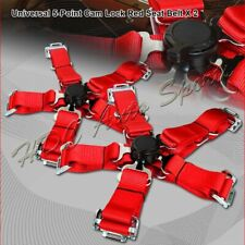2 X JDM 5-Point Cam Lock Red Nylon Safety Harness Racing Seat Belts Universal 4