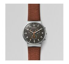 Skagen SKW6099 Chronograph Grey Dial Brown Leather Watch,  40mm case, RRP $295