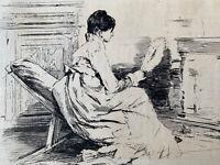 Jules Jacquemart Gravure Eau Forte Etching Femme Chez Jean Berne Bellecour